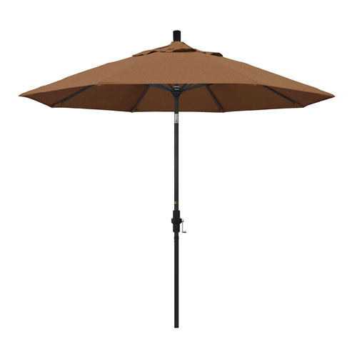 California Umbrella 9 Foot Umbrella Aluminum Market Collar Tilt - Matted Black/Sunbrella/Canvas Teak