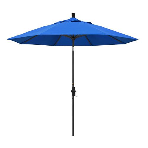 California Umbrella 9 Foot Umbrella Aluminum Market Collar Tilt - Matted Black/Olefin/Pacific Blue