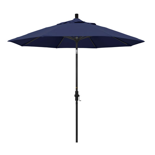 California Umbrella 9 Foot Umbrella Aluminum Market Collar Tilt - Matted Black/Olefin/Navy Blue