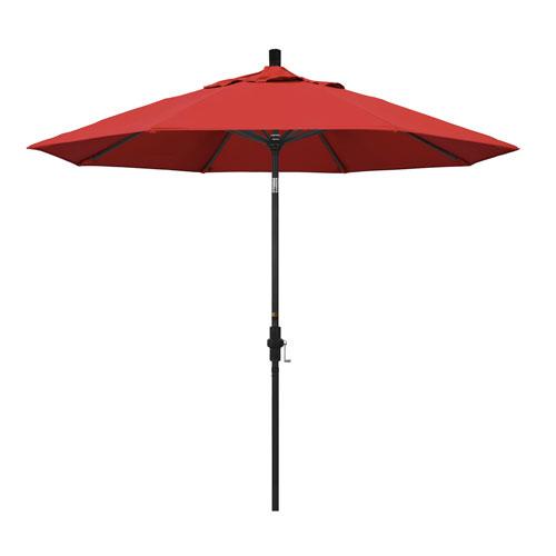 9 Foot Umbrella Aluminum Market Collar Tilt - Matted Black/Olefin/Red