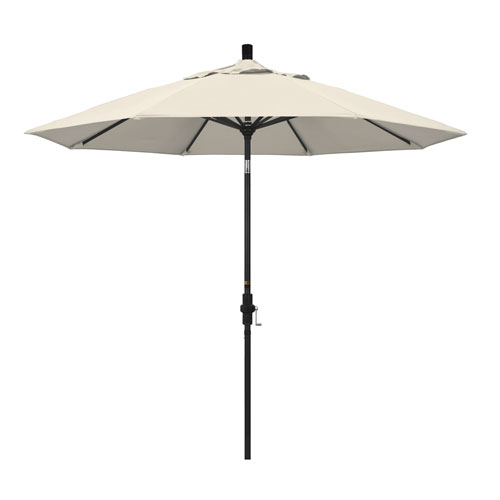 California Umbrella 9 Foot Umbrella Aluminum Market Collar Tilt - Matted Black/Olefin/Antique Beige