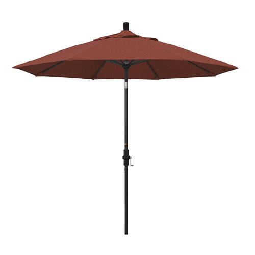 9 Foot Umbrella Aluminum Market Collar Tilt - Matted Black/Olefin/Terracotta