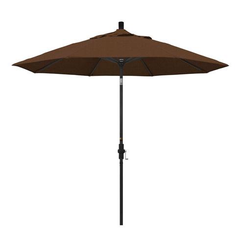 9 Foot Umbrella Aluminum Market Collar Tilt - Matted Black/Olefin/Teak