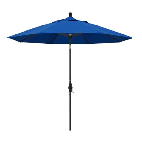 California Umbrella 9 Foot Umbrella Aluminum Market Collar Tilt - Matted Black/Pacifica/Pacific Blue