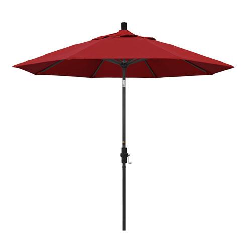 California Umbrella 9 Foot Umbrella Aluminum Market Collar Tilt - Matted Black/Pacifica/Red