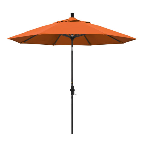 9 Foot Umbrella Aluminum Market Collar Tilt - Matted Black/Pacifica/Tuscan