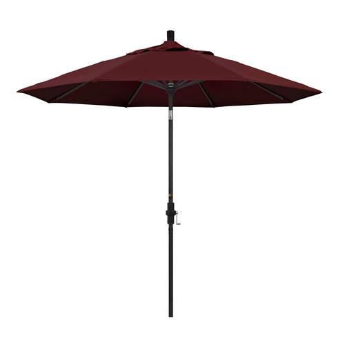 California Umbrella 9 Foot Umbrella Aluminum Market Collar Tilt - Matted Black/Pacifica/Burgandy