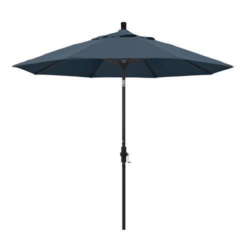 California Umbrella 9 Foot Umbrella Aluminum Market Collar Tilt - Matted Black/Pacifica/Sapphire