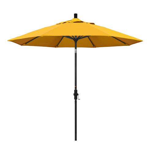 9 Foot Umbrella Aluminum Market Collar Tilt - Matted Black/Pacifica/Yellow
