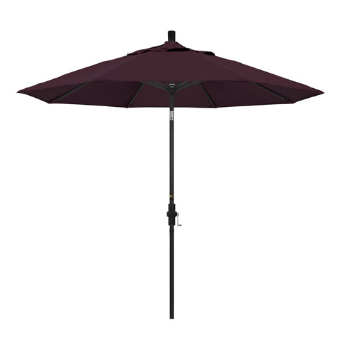 California Umbrella 9 Foot Umbrella Aluminum Market Collar Tilt - Matted Black/Pacifica/Purple