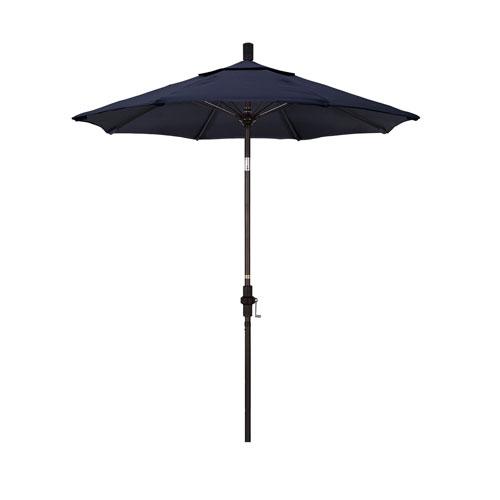 California Umbrella 7.5 Foot Umbrella Fiberglass Market Collar Tilt - Bronze/Sunbrella/Navy