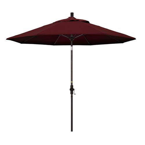 California Umbrella 9 Foot Umbrella Fiberglass Market Collar Tilt Bronze/Pacifica/Burgandy