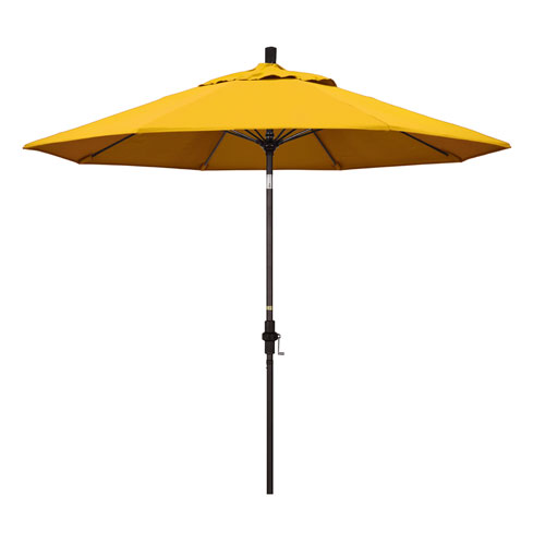 California Umbrella 9 Foot Umbrella Fiberglass Market Collar Tilt Bronze/Pacifica/Yellow