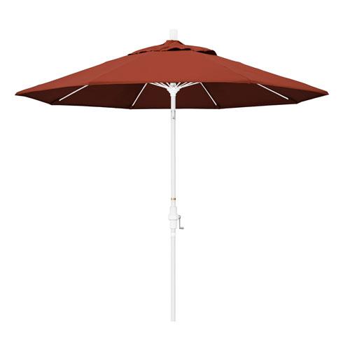 California Umbrella 9 Foot Umbrella Fiberglass Market Collar Tilt - Matted White/Sunbrella/Terracotta