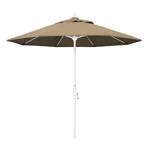 California Umbrella 9 Fiberglass Market Umbrella Collar Tilt M White/Sunbrella/Heather Beige