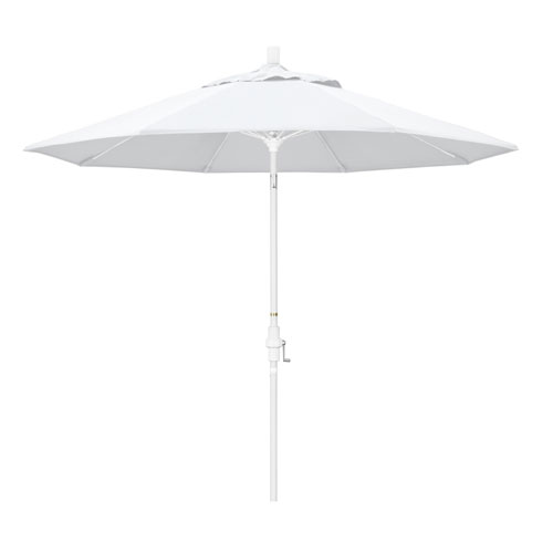 California Umbrella 9 Foot Umbrella Fiberglass Market Collar Tilt - Matted White/Pacifica/Natural