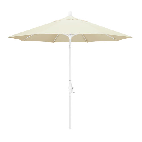 9 Foot Umbrella Fiberglass Market Collar Tilt - Matted White/Pacifica/Canvas