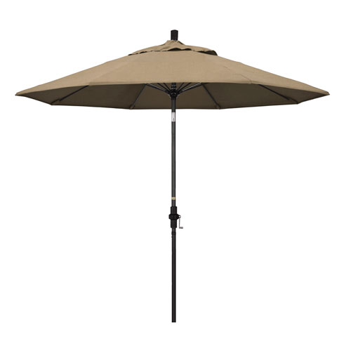 California Umbrella 9 Fiberglass Market Umbrella Collar Tilt Black/Sunbrella/Heather Beige