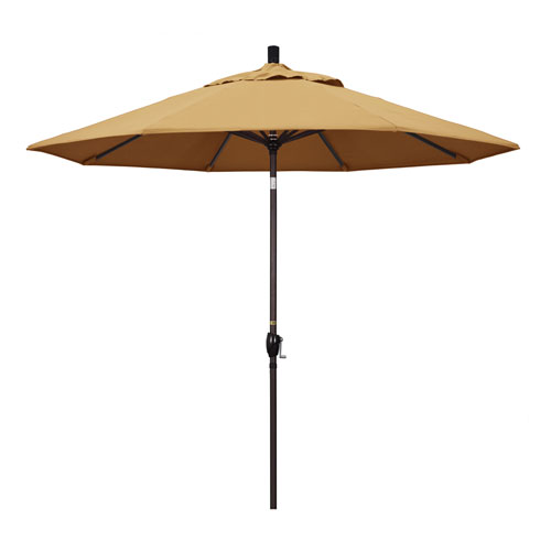 California Umbrella 9 Foot Umbrella Aluminum Market Push Tilt - Bronze/Sunbrella/Wheat