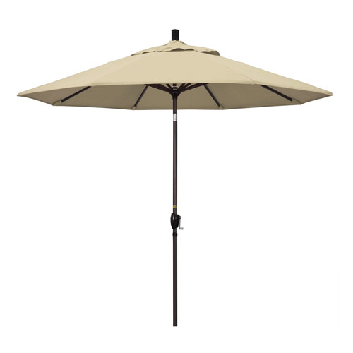 9 Foot Umbrella Aluminum Market Push Tilt - Bronze/Sunbrella/Antique Beige