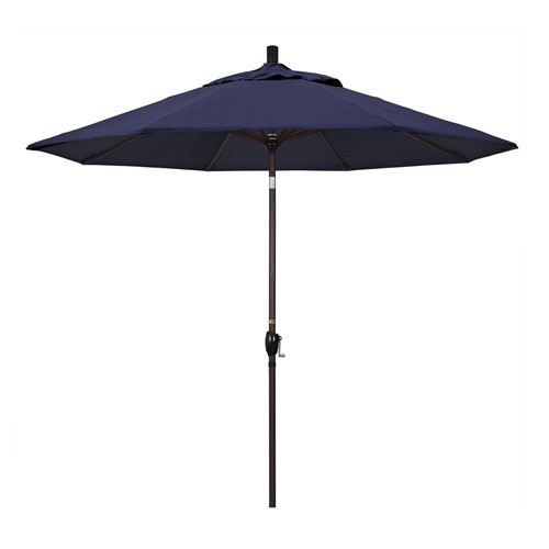 California Umbrella 9 Foot Umbrella Aluminum Market Push Tilt - Bronze/Sunbrella/Navy