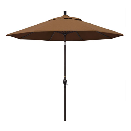 9 Foot Umbrella Aluminum Market Push Tilt - Bronze/Sunbrella/Canvas Teak