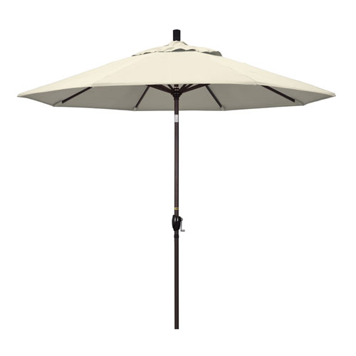 California Umbrella 9 Foot Umbrella Aluminum Market Push Tilt - Bronze/Olefin/Antique Beige