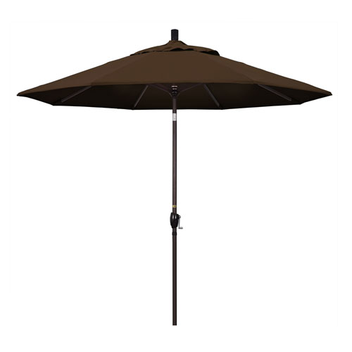 California Umbrella 9 Foot Umbrella Aluminum Market Push Tilt - Bronze/Pacifica/Mocha