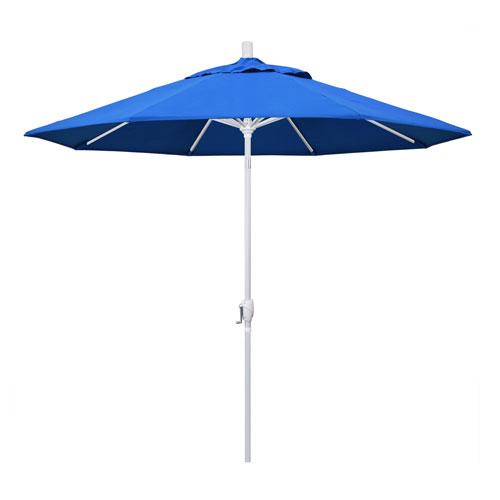 9 Foot Aluminum Market Umbrella Push Tilt Matte White/Olefin/Blue