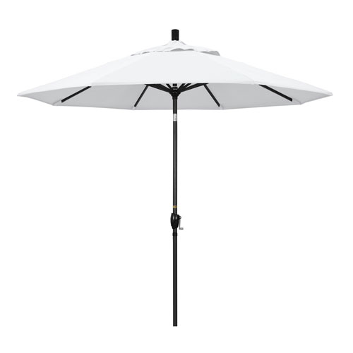 9 Foot Umbrella Aluminum Market Push Tilt - Matte Black/Olefin/White