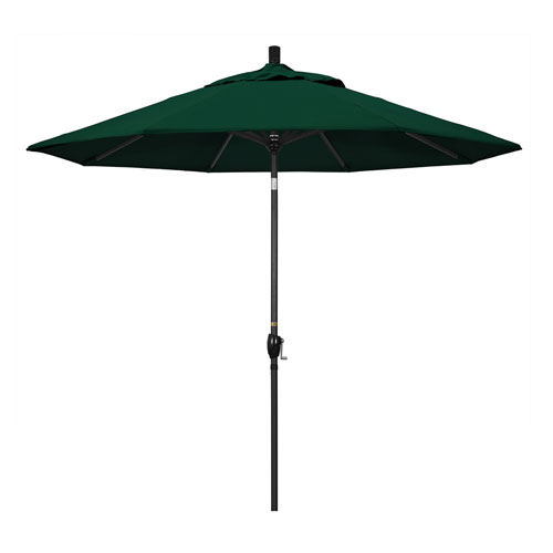 9 Foot Umbrella Aluminum Market Push Tilt Matte Black Olefin Hunter Green