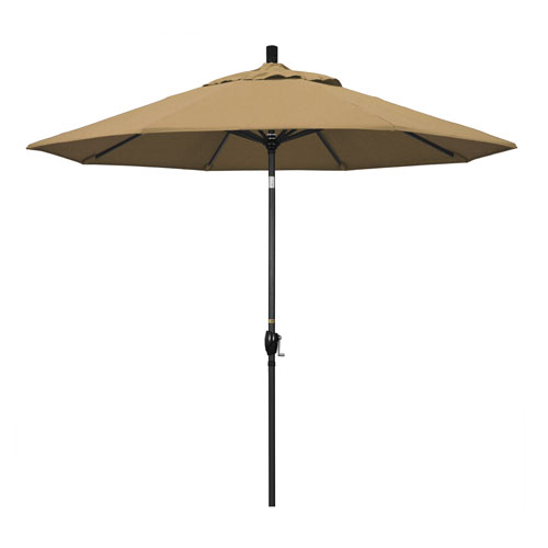 California Umbrella 9 Foot Umbrella Aluminum Market Push Tilt - Matte Black/Olefin/Straw