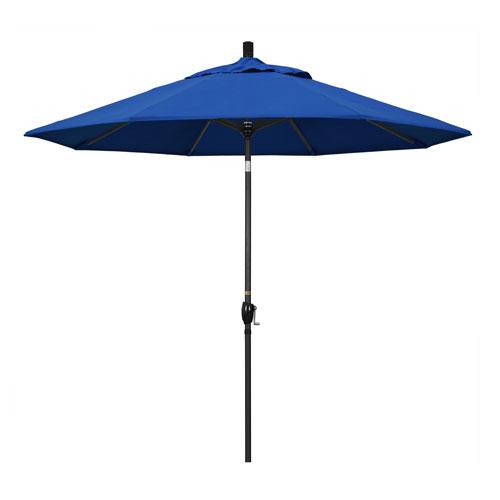 9 Foot Umbrella Aluminum Market Push Tilt - Matte Black/Pacifica/Pacific Blue