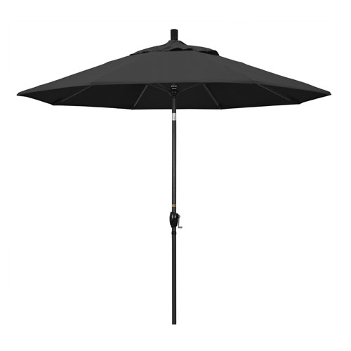 California Umbrella 9 Foot Umbrella Aluminum Market Push Tilt - Matte Black/Pacifica/Black