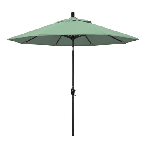 California Umbrella 9 Foot Umbrella Aluminum Market Push Tilt - Matte Black/Pacifica/Spa