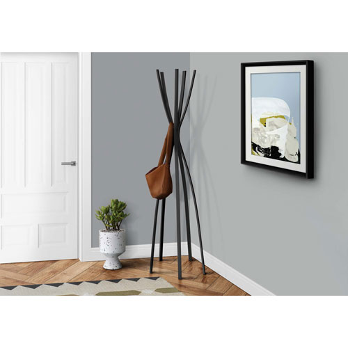 Coat Rack - 72H / Satin Black Metal Contemporary Style