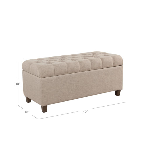 Button Tufted Storage Bench - Tan