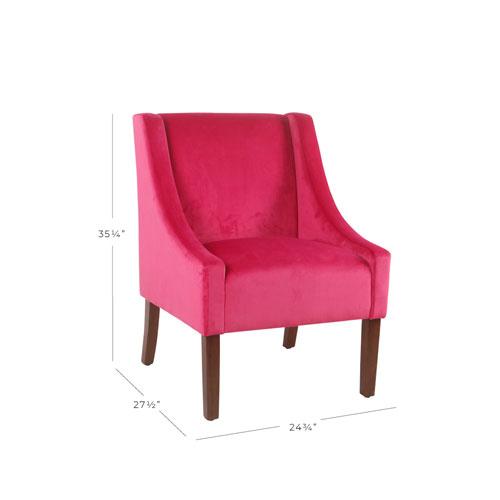 Modern Velvet Swoop Arm Accent Chair - Pink