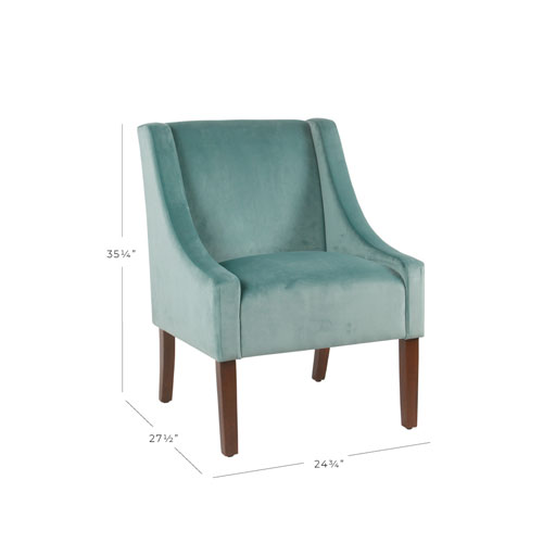 Meadow Lane Modern Velvet Swoop Arm Accent Chair - Aqua Blue
