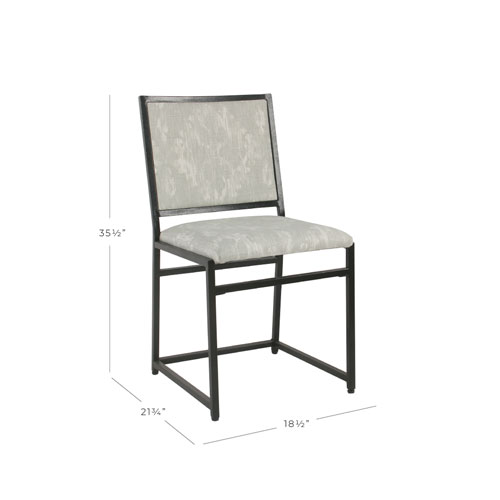 Industrial Metal Dining Chair - Gray Ikat