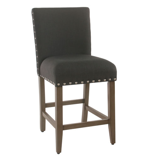 Meadow Lane 24 Inch Counter Stool With Nailheads Dark Charcoal K7570