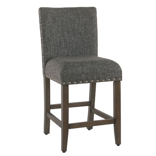 Bon Meadow Lane 24 Inch Counter Stool With Nailheads   Slate Gray