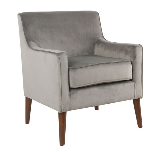 Mid-Century Velvet Accent Chair - Gray