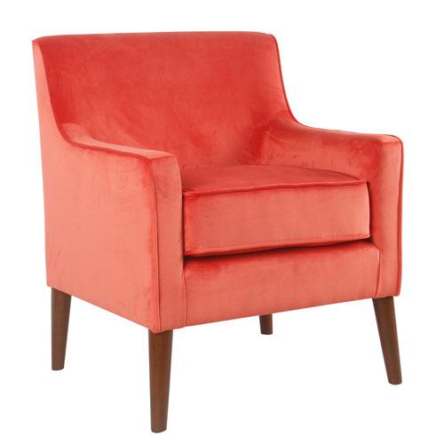 Mid-Century Velvet Accent Chair - Persimmon Orange