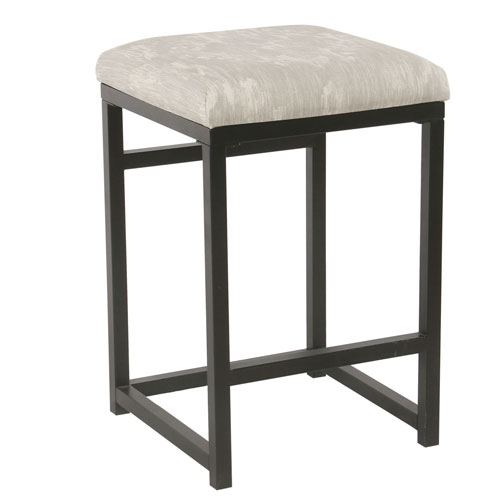 Meadow Lane Backless Metal Counter Stool Gray Ikat K765124 A834