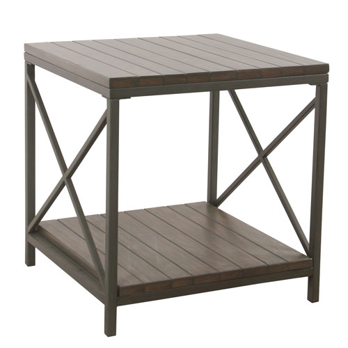 Meadow Lane Wood and Metal Accent Table - Patina Gray