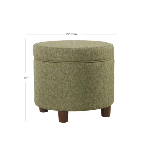 Round Storage Ottoman - Green Tweed