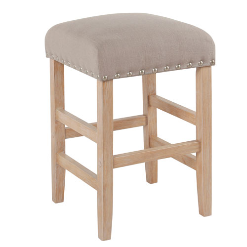 Meadow Lane 24 Inch Backless Counter stool with Nailheads - Tan