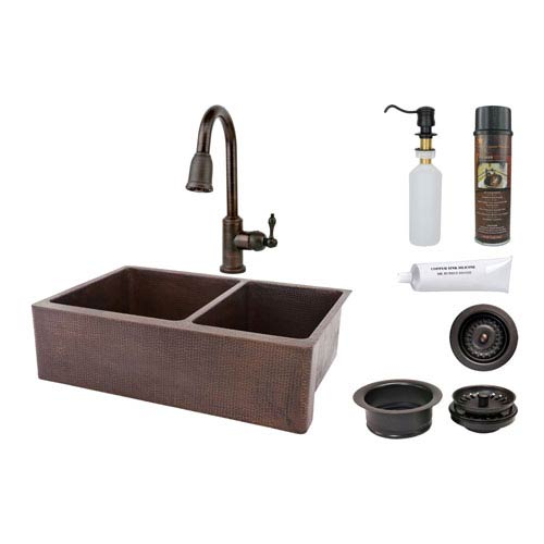 33-Inch Hammered Copper Apron 60/40 Double Bowl Kitchen Sink with Pull Down Faucet
