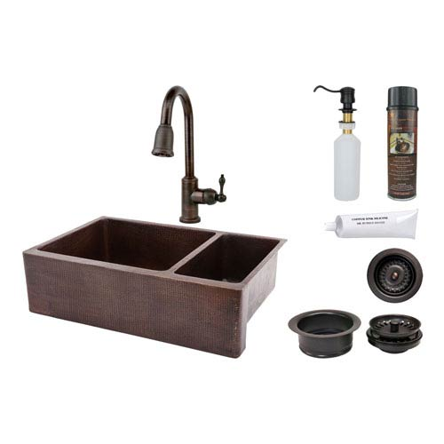 33-Inch Hammered Copper Apron 75/25 Double Bowl Kitchen Sink with Pull Down Faucet